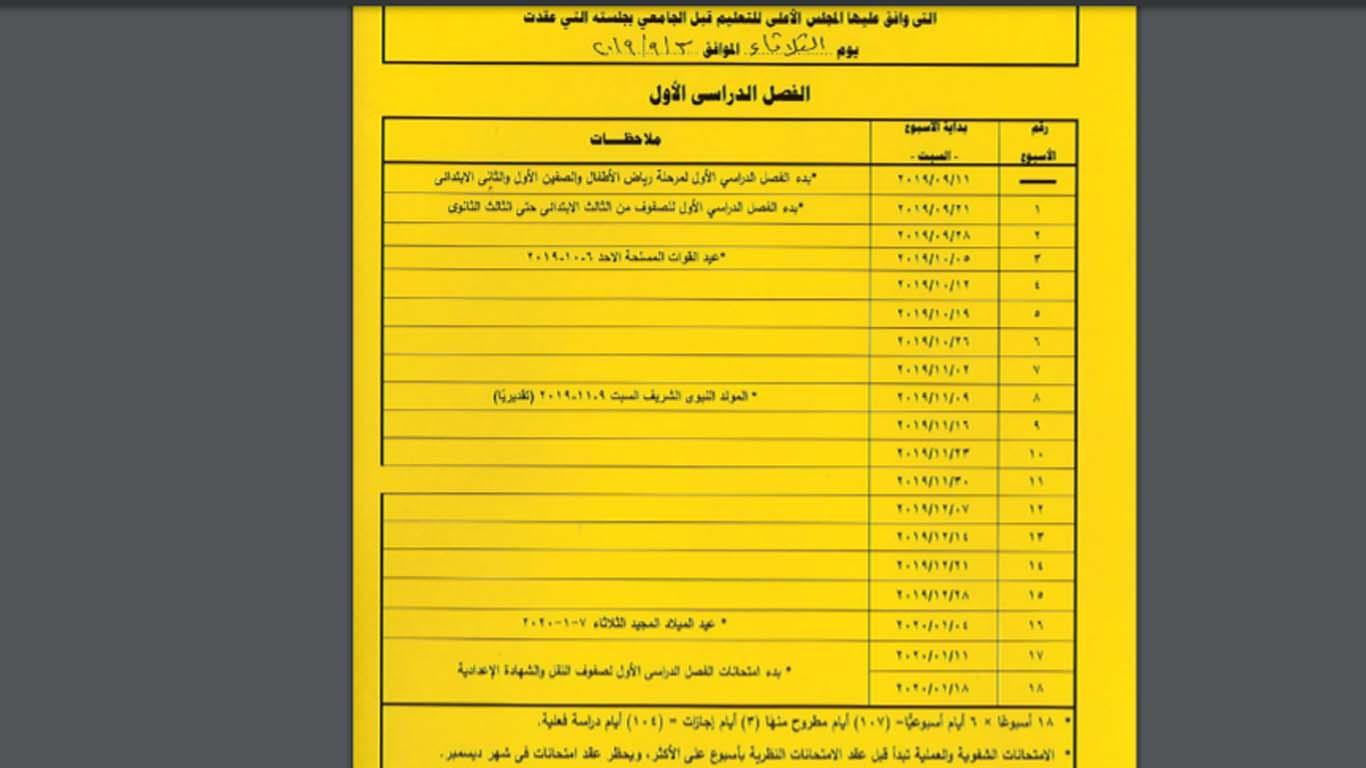 جداول امتحانات الترم الأول من الصف الثالث الابتدائي وحتى الثانوي 44