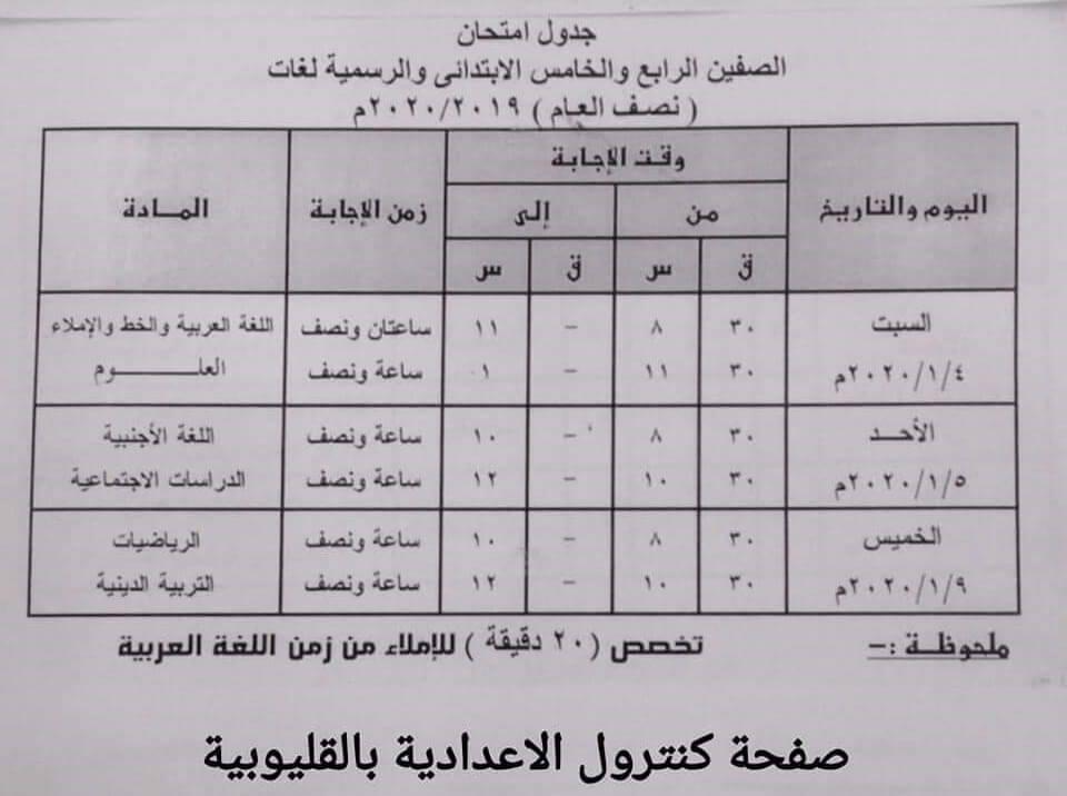 جداول امتحانات الترم الأول من الصف الثالث الابتدائي وحتى الثانوي 16