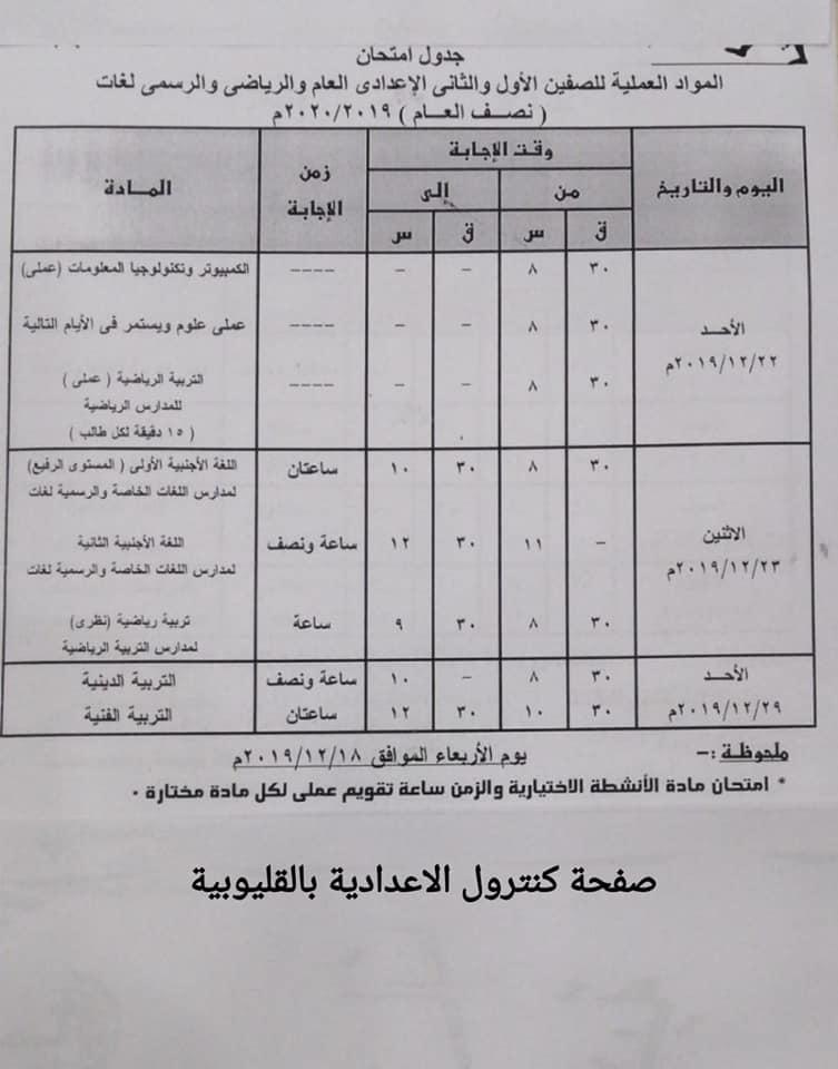 جداول امتحانات الترم الأول من الصف الثالث الابتدائي وحتى الثانوي 21