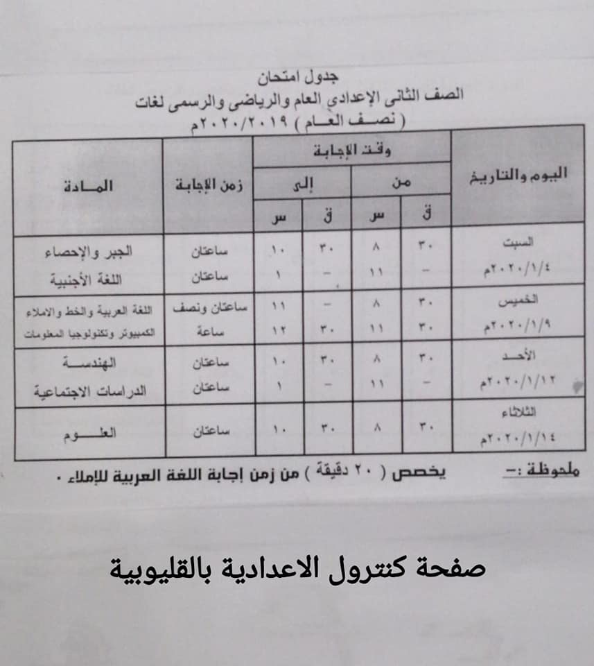 جداول امتحانات الترم الأول من الصف الثالث الابتدائي وحتى الثانوي 23