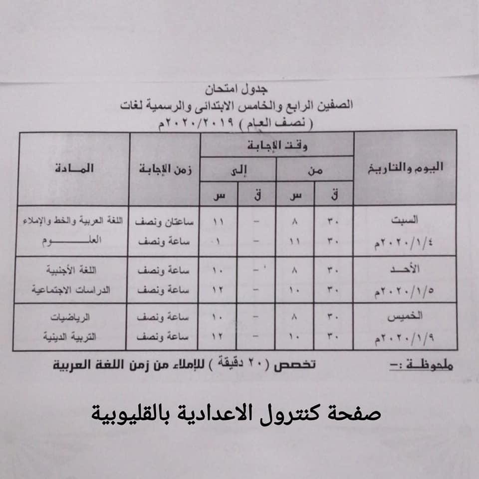 جداول امتحانات الترم الأول من الصف الثالث الابتدائي وحتى الثانوي 25