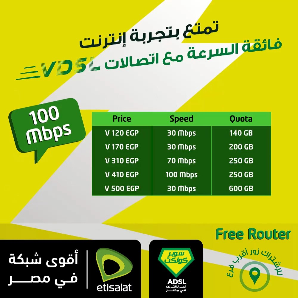 باقات الـ VDSL الانترنت الجديدة من اتصالات 1